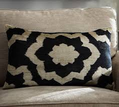 Printed Velvet Lumbar Pillow Cover in Beige and Black