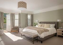 Sweet Olive Walls Paired With Bluish Grays On The Furniture For Master Bedroom Interior Design