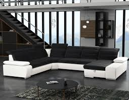 canapé noir et blanc canapé convertible angle universel en tissu hcommehome