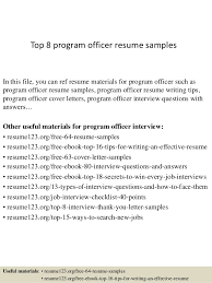 Top 8 Program Officer Resume Samples In This File You Can Ref Materials For