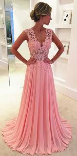 lace v neck see through long chiffon prom dress blush pink vintage