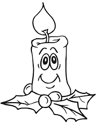 Printable Christmas Coloring Page Of A Smiling Candle