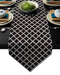 moderne marokko schwarz weiß tisch läufer moderne küche decor tisch flagge tischdecke tischset hotel hause tisch läufer für hochzeit