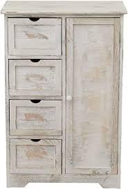 mobili schubladenkommode vintage mehrzweckschrank mit 4 schubladen und 1 tür paulownienholz weiß grau schlafzimmer badezimmer maße 82 x