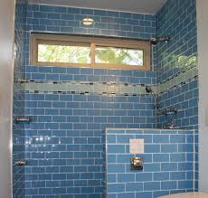 great blue themes walk in shower decor with blue subway tile added