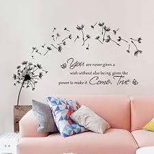 decalmile wandtattoo pusteblume wandaufkleber sprüche und zitate löwenzahn wandsticker schlafzimmer büro wohnzimmer wanddeko