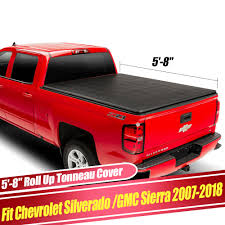 100 Chevy Silverado Truck Parts Fit 20072018 58ft Bed Roll UP Soft Tonneau Cover