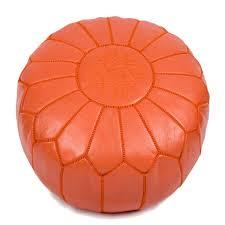 pouf design marocain en cuir orange pouf design baboucheshop
