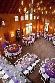 Rustic Purple Barn Wedding Reception Table Setting Ideas