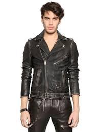 diesel wolf printed nappa leather biker jacket in black for men lyst
