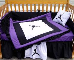 new 7 piece baby crib bedding set in purple black white