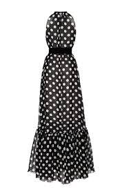 dots black ivory polka dot gown with ruffle bottom by moda operandi
