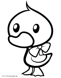 Cute Printable Coloring Pages Duck And Duckling Wearing A Ribbon Page Download