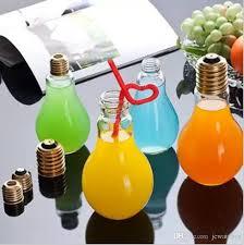 light bulb shape tea fruit juice drink water bottle cup plant