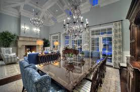 Blue Green Dining Room With High Ceilings And Chandeliers