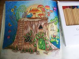 From The Enchanted Forest Johanna Basford Adult Coloring Book Tree Truck And Mushrooms