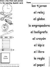 Match Spanish Words And Pictures At EnchantedLearning