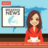 Headline Or Breaking News Woman Tv Reporter Presenter Young Newscaster