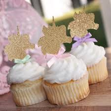 Unicorn Cupcake Toppers With Rainbow Bows Party Supplies Uni Confetti Momma