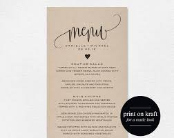 Rustic Wedding Menu Template Cards