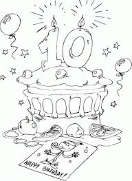10 Birthday Cake Coloring Page