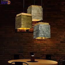 iwhd zement jahrgang le wohnzimmer led pendelleuchte loft stil industrie retro holz hängen lichter hause leuchten