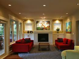amazing living room with modern ted sofas and fireplace also