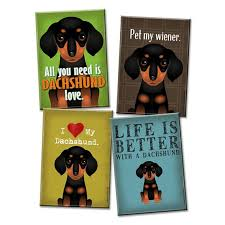 Dachshund Kitchen Magnet 4 Pack Assorted By DogsIncorporated 2250 DecorKitchen IdeasHot DogsDachshundsMagnets