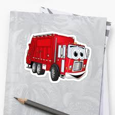 Red Smiling Garbage Truck Cartoon