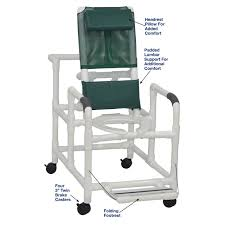 MJM International - Reclining Shower Chair With Deluxe Elongated Open Front  Commode Seat And Folding Footrest- 325 Lbs Weight Capacity - # 195