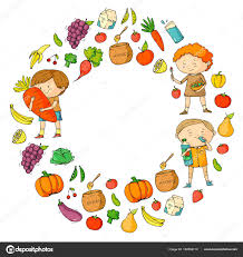 Boys and girls eat healthy food and snacks Vector doodle preschool pattern with cartoon kids drawing — Vector by Helen F