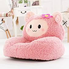 Kids Mini Lounger SofaBean Bag ChairNovelty Gift Pink Fluffy Sheep PP Cotton
