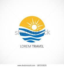 Coolest Travel Agency Logo Design Templates Sun Horizon Stock Royalty Free