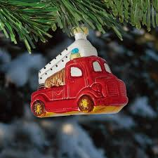 Barcana Christmas Trees by Fire Truck Christmas Ornament