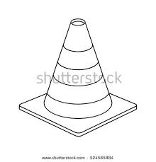 traffic cone warning sign design outline