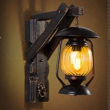 creative vintage iron wood lantern led e27 outdoor wall l loft