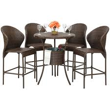 BestChoiceProducts: Best Choice Products 5-Piece Outdoor Patio Furniture  Wicker Bistro Bar Table Set W/ Ice Bucket | Rakuten.com Americana Wicker Bistro Table And Chairs Set Plowhearth Royalcraft Cannes Brown Rattan 3pc 2 Seater Cube Breakfast Ceylon Outdoor 3piece By Christopher Knight Home Hampton Bay Aria 3piece Balcony Patio Sirio Valentine Swivel Ellie 3 Piece Folding Fniture W Round In Dark Outdoor Cast Alinium Rattan Ding Sets Georgina With Cushions Wilko Effect