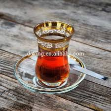 Vintage Turkish Coffee Tea Cup With SaucerClear Glass And Gold