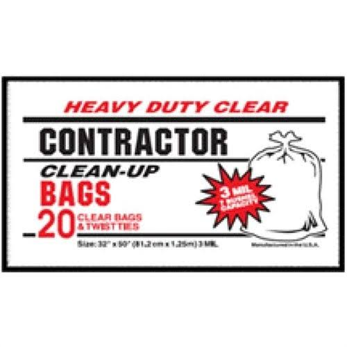 Contractor Clean-up Bag - 20ct, 3mil, Clear