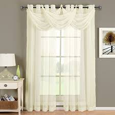 CRUSHED SHEER ABRI GROMMET Curtain Panels Window Treatment 24 X Valance Ivory