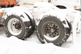 Semi Truck Traffic On Interstate 5 With Tire Chains During A.. Stock ...