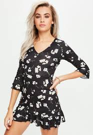 black floral print frill skater tea dress missguided