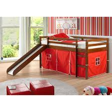 Donco Kids Twin Loft Tent Bed with Slide Light Espresso