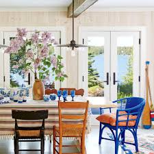 Wonderful Coastal Living Cottage Dining Room Ideas Blue Wicker End Chair Wooden Walls Lake View