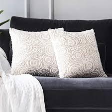 gigizaza feder plüsch kissenbezug 45x45 cm kissenhülle dekorative dekokissen kissenbezüge für schlafzimmer wohnzimmer sofa weiß gold 2er set