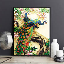 Framed Picture DIY Oil Painting By Numbers Peacock Animals Digital Canvas Hand Wall Art Kit Home Decor For Living Room