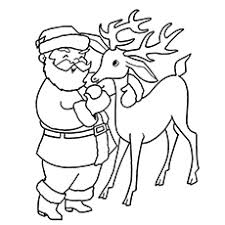 Reindeer Coloring Page Rudolph With Santa