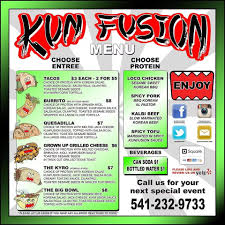 Menu At Kun Fusion Food Truck, 725 Olive St - Restaurant Prices 333tacomenu Best Food Trucks Bay Area Miami Truck Catering Page Burger Beast 77 Menu Template Creative And Ultimate Guide To Display Options For Theme Ideas And Inspiration Truck Menus Louziana Restaurant Pounders Cluck Augustas Subs Salads Bacons Bbq Barbeque The Images Collection Of Menu Mplate Psd Flyer Restaurant A Amgencafes At Amgen