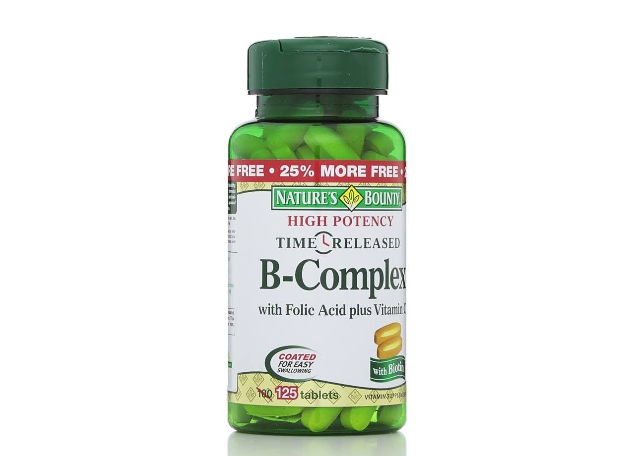 Nature's Bounty Time Released B Complex Dietary Supplement Tablets - 125 Pack