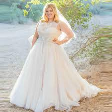 2016 Plus Size Wedding Dresses Elegant Lace Tulle Gowns Sheer O Neck Sweep Train Beaded Rustic Bridal Gown YY631 In From